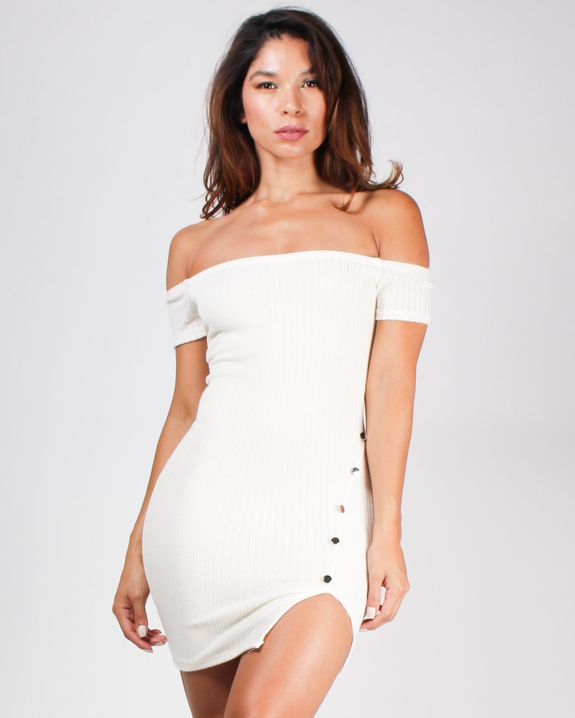 Brush Your Shoulders Off Bodycon Dress Ivory / S Dresses