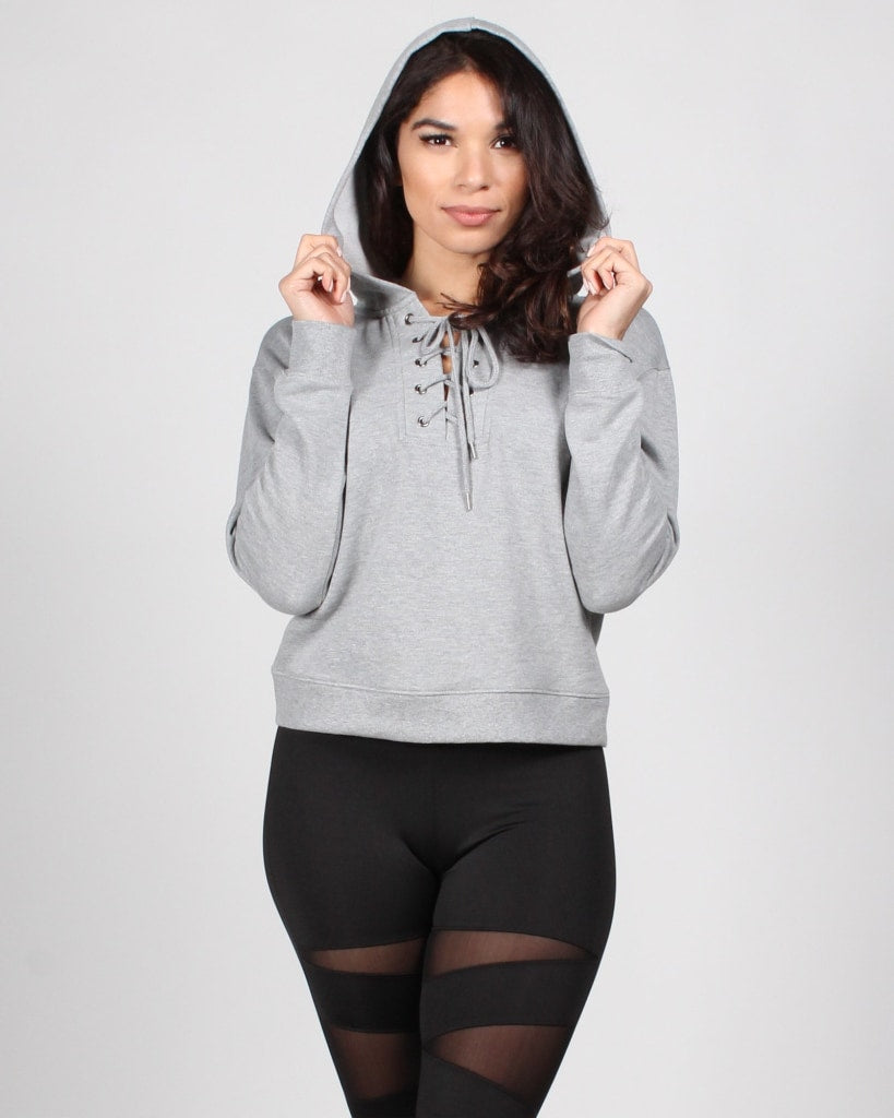 Cant Tell Me Nothing Lace-Up Hooded Sweater S / Grey Tops