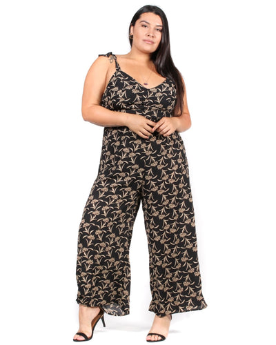 Cherish Me Floral Plus Jumpsuit 1X / Black