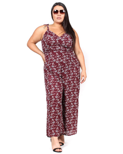 Cherish Me Floral Plus Jumpsuit 1X / Maroon