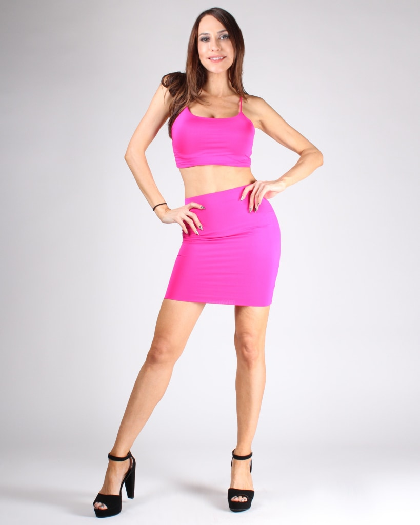 0c3d69e261f Choose Happy Crop Top And Skirt Set S   Hot Pink