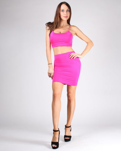Choose Happy Crop Top And Skirt Set