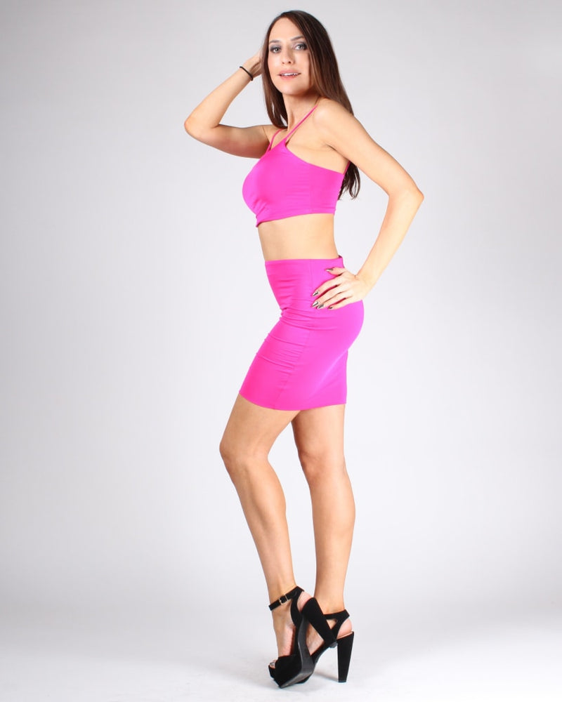Choose Happy Crop Top And Skirt Set S / Hot Pink