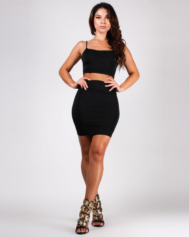 Choose Happy Crop Top And Skirt Set Black / S