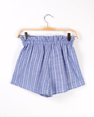 Cinched Pinstripe Shorts With Front Tie (Light Blue) Bottoms