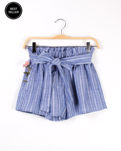 Cinched Pinstripe Shorts With Front Tie (Light Blue) Light Blue / S Bottoms