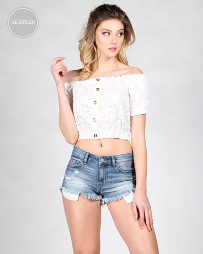 Connect The Dots Eyelet Crop Top White / S Tops