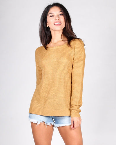 County Fair Knit Sweater S / Mustard Tops