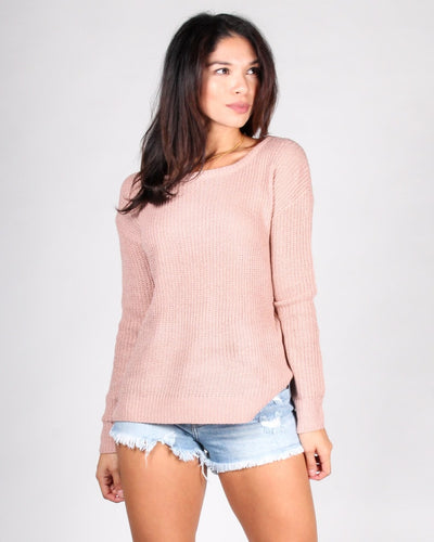 County Fair Knit Sweater S / Rose Tops