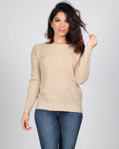 County Fair Knit Sweater S / Taupe Tops