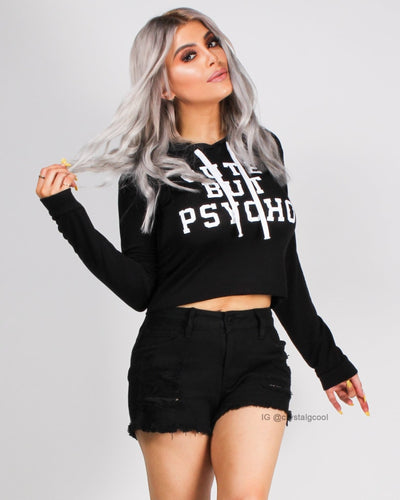 Cute But Psycho Hooded Top Black / S Tops