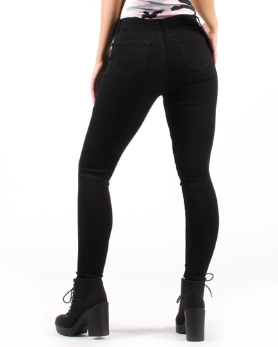 Deep Black Ankle Super Skinny Jean With Mid-Rise Waist Bottoms