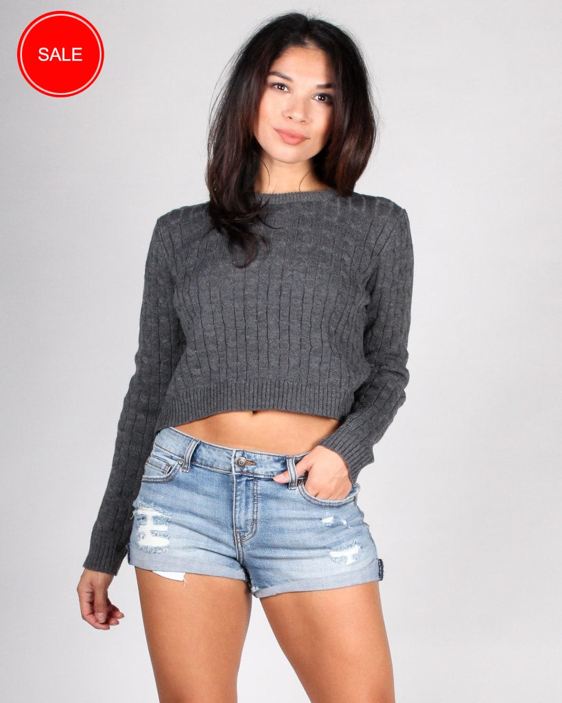 Delightfully Sinful Knit Crop Top S / Charcoal