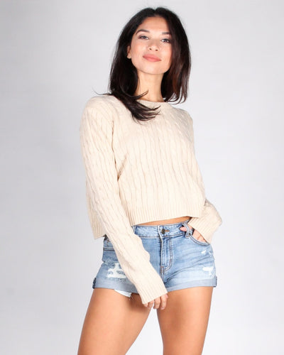Delightfully Sinful Knit Crop Top S / Cream