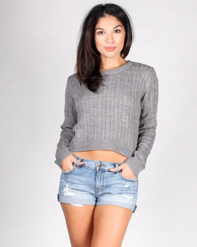 Delightfully Sinful Knit Crop Top S / Heather Grey