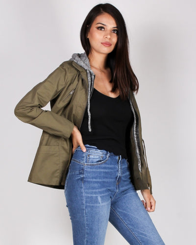 Dont Be Afraid To Fall Cargo Jacket (Army) Outerwear