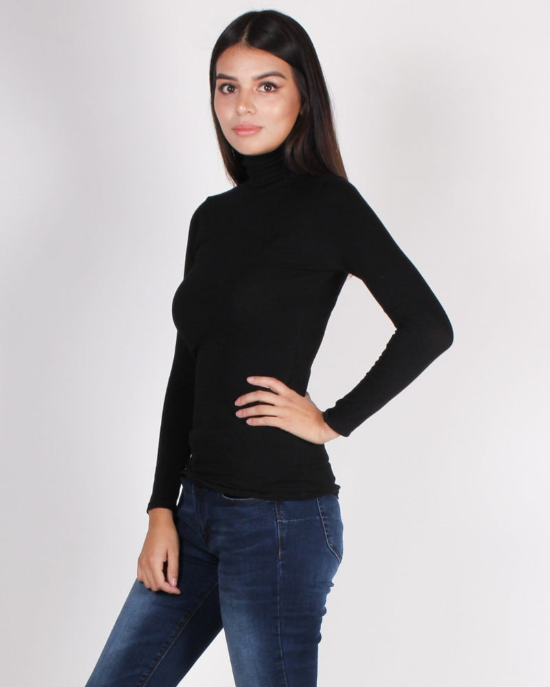 Dont Let Today Get Away Turtleneck Top (Black) Black / S Tops