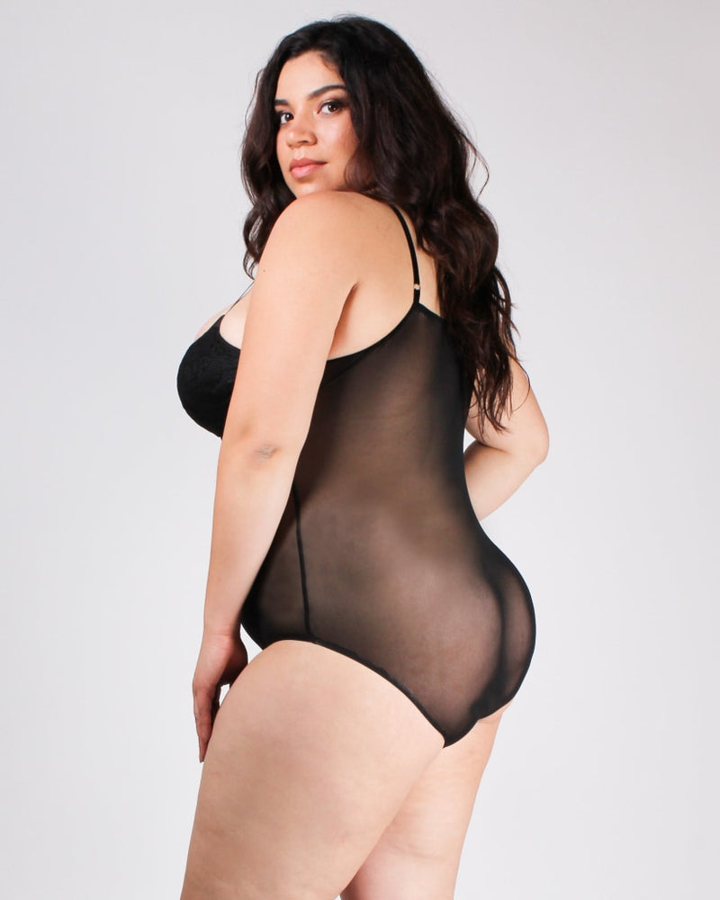 Dont Mesh With My Heart Bodysuit 1X / Black