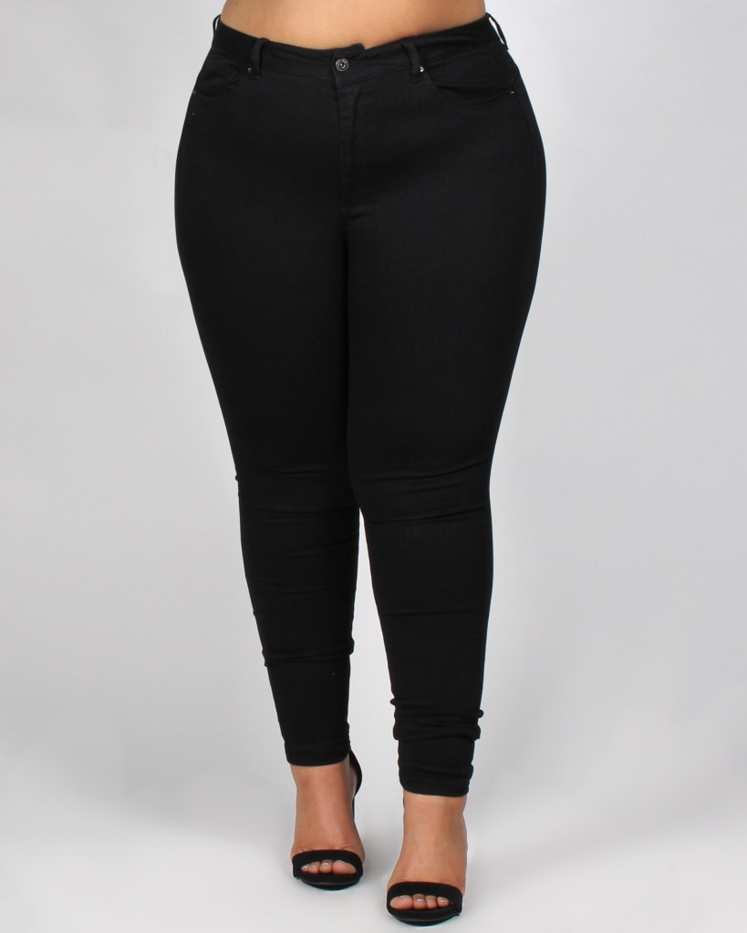 Drive Me Crazy Skinny Plus Jeans 14 / Black Bottoms