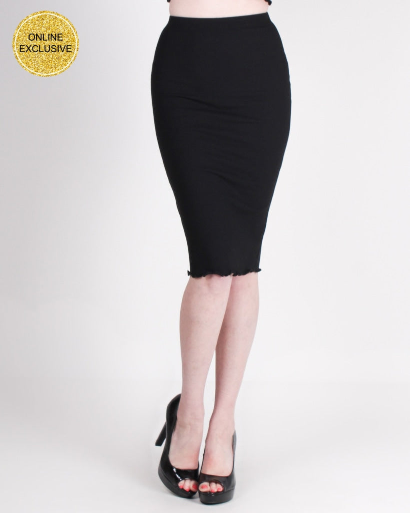 Embrace Your Own Journey Pencil Skirt (Black) Black / S Bottoms