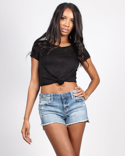 Enjoy The Little Things Pocket Heathered Tee S / Black Tops
