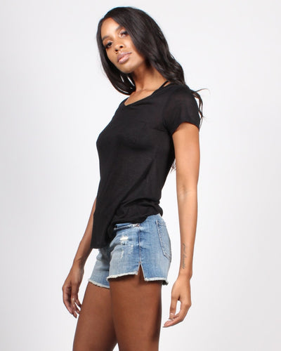 Enjoy The Little Things Pocket Heathered Tee Tops