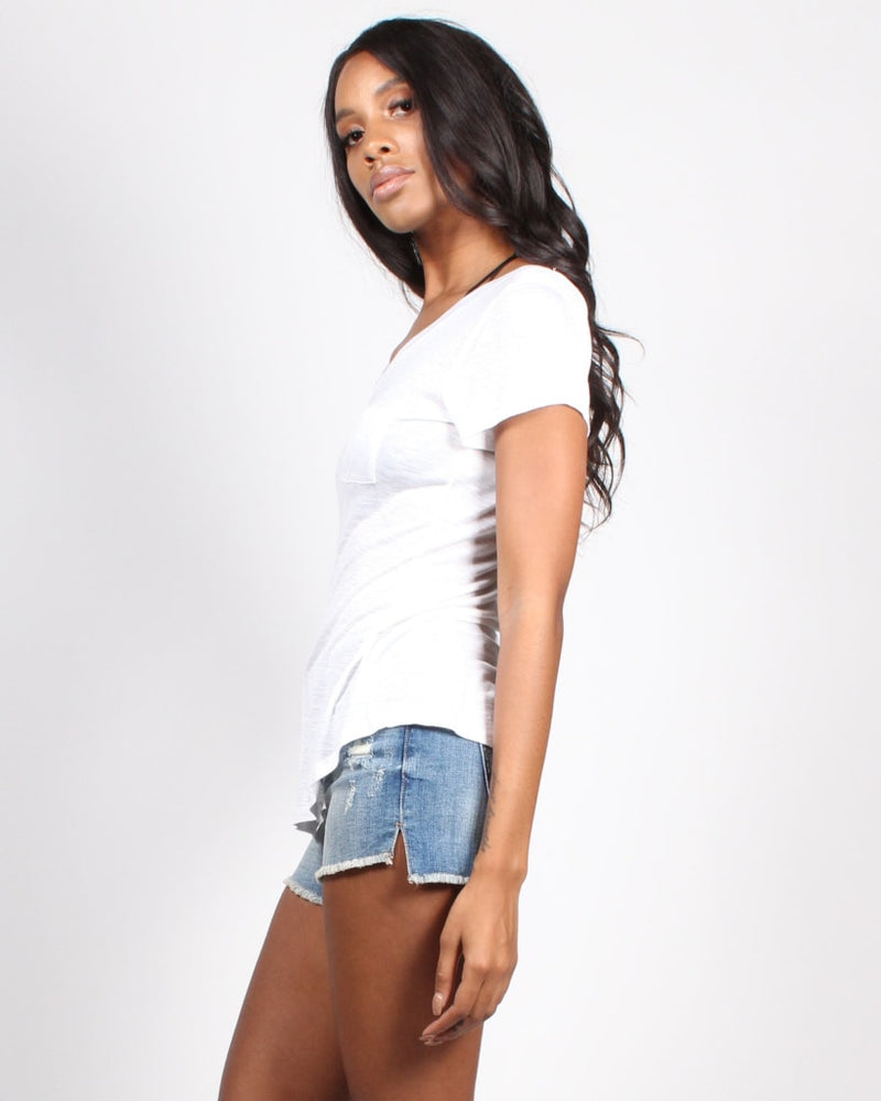 Enjoy The Little Things Pocket Heathered Tee S / White Tops