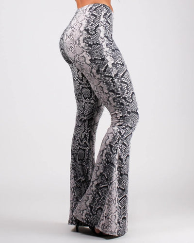 Escape the Ordinary Snake Print Bell Bottom Pants