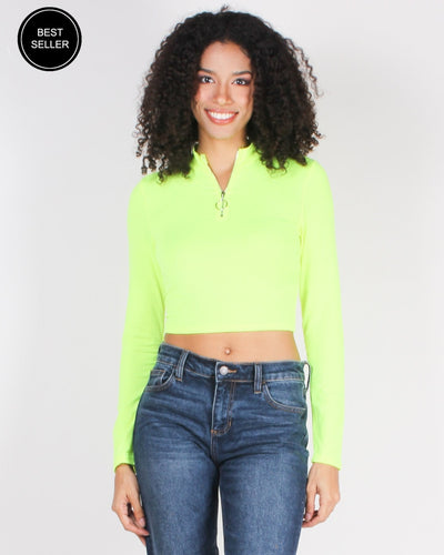 Every Single Day Style Long Sleeve Crop Top (Neon Lime) / S Tops