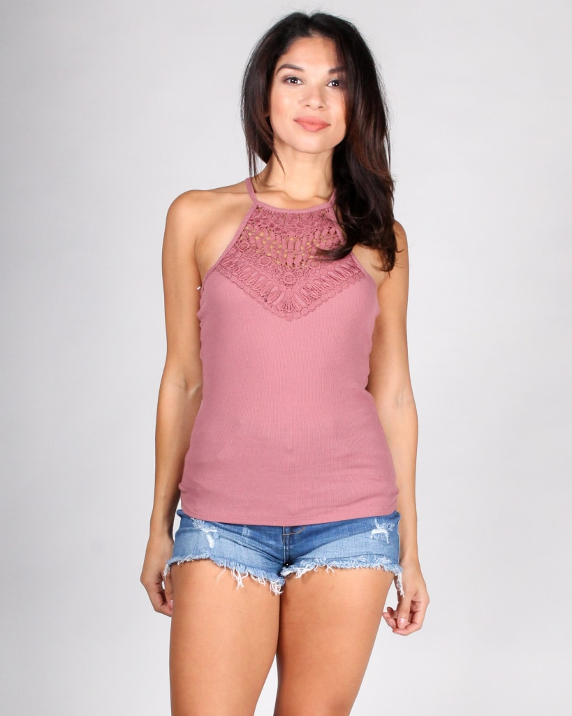 Faithfully Crochet Tank Top S / Dusty Rose