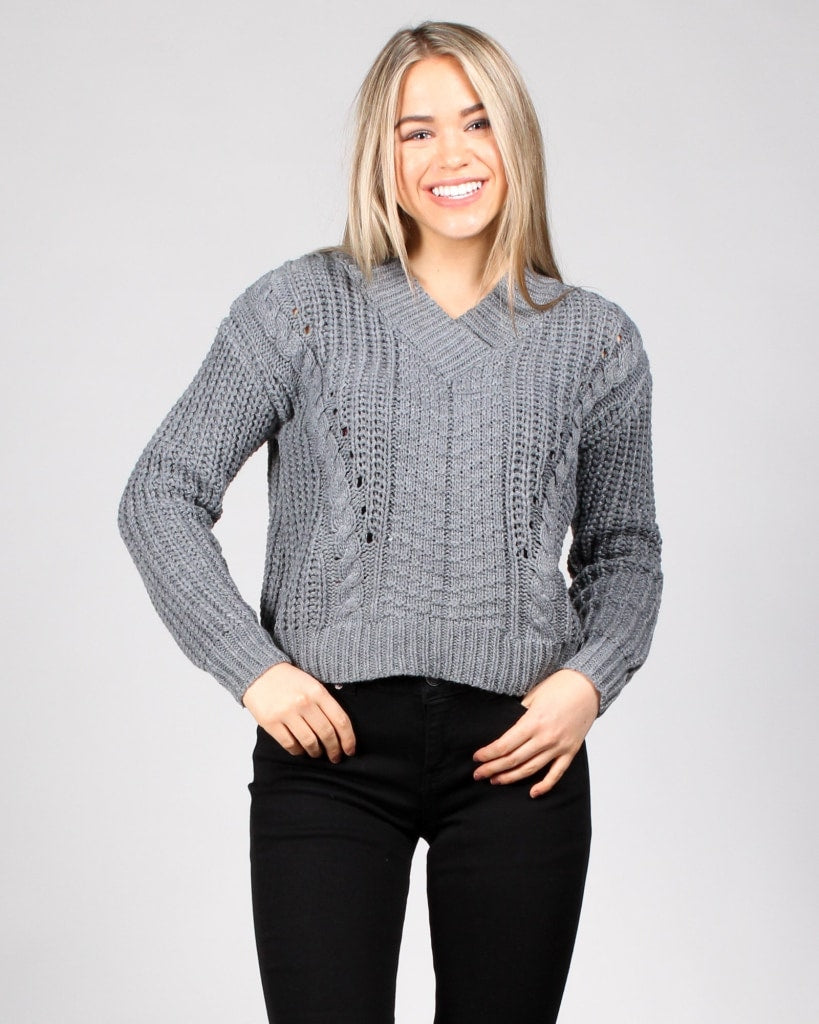Fall Into Me Sweater S / Charcoal Tops