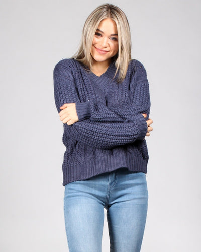 Fall Into Me Sweater S / Navy Tops