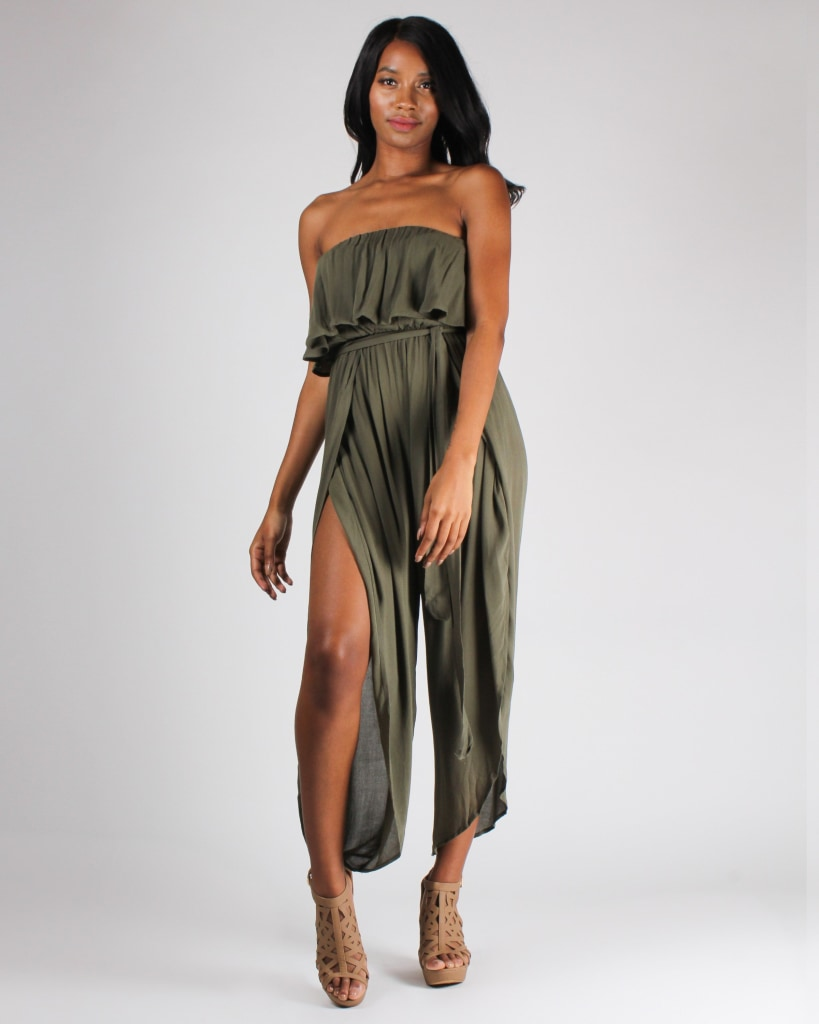 Ferngully Flounce Jumpsuit S / Olive