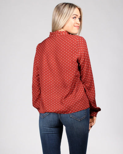 Fill In The Dots Tie Front Top Tops