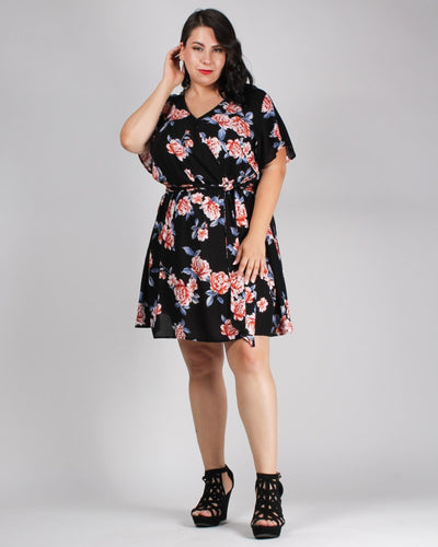Floral Looks Good On You Plus Dress Black / 1X Dresses