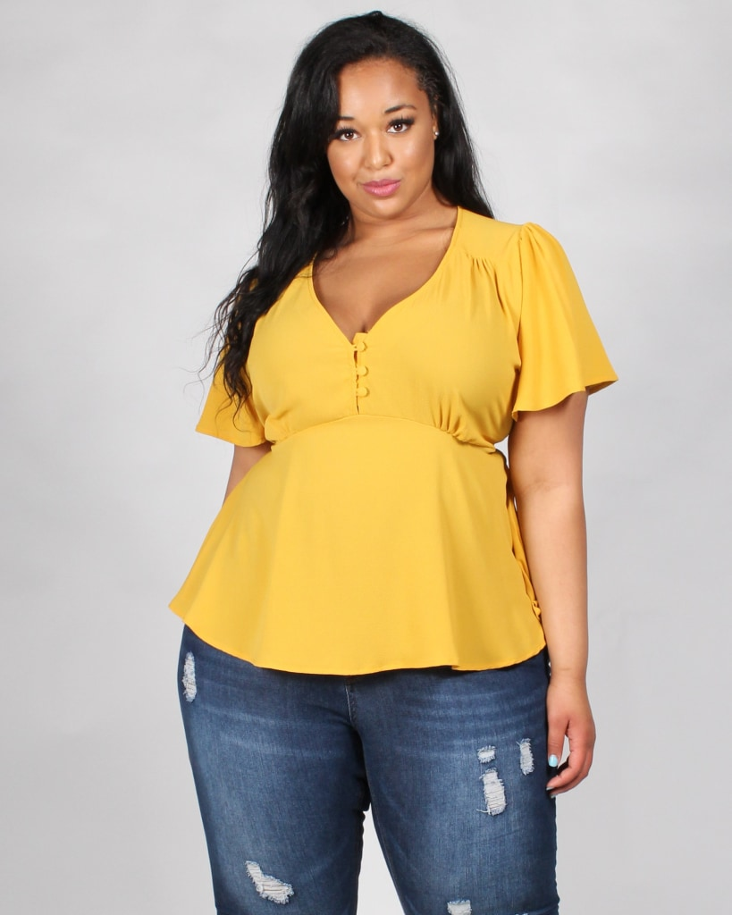 From Past To Present V-Neck Plus Top 1X / Mustard Tops