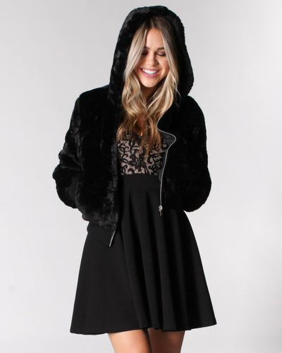 Fur Me To You Hooded Jacket S / Black Outerwear