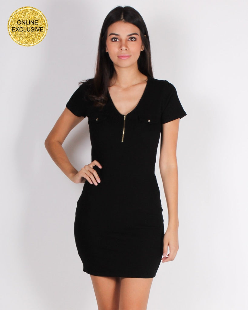 Get Your Halo Dirty Bodycon Dress (Black) Black / S Dresses