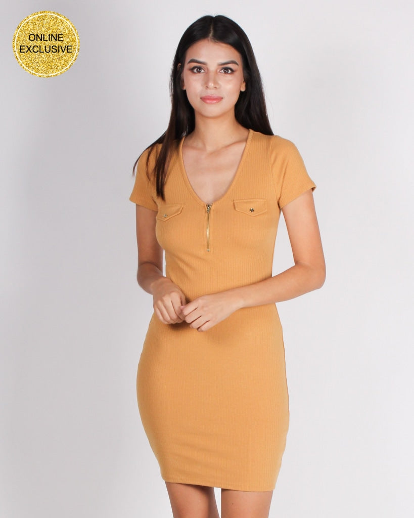 Get Your Halo Dirty Bodycon Dress (Honey Mustard) Honey Mustard / S Dresses