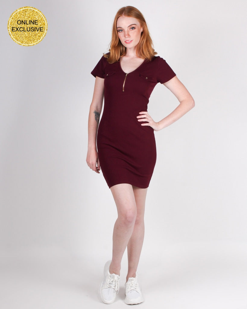 Get Your Halo Dirty Bodycon Dress (Merlot) Dresses