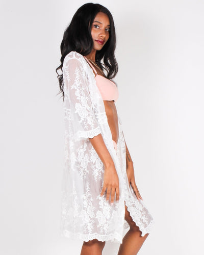 Girls Just Wanna Have Sun Lace Cardigan (White) Outerwear