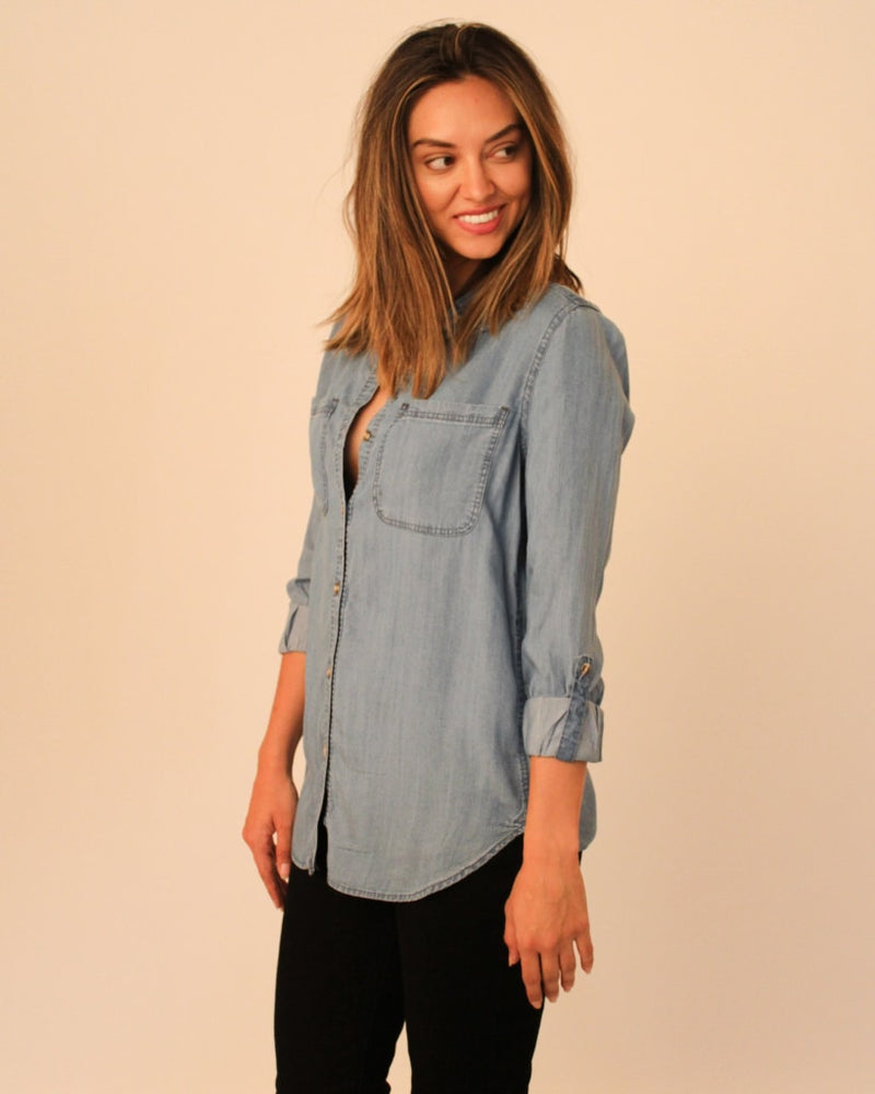 Girls Like You Denim Button Down S / Light Grey Blue