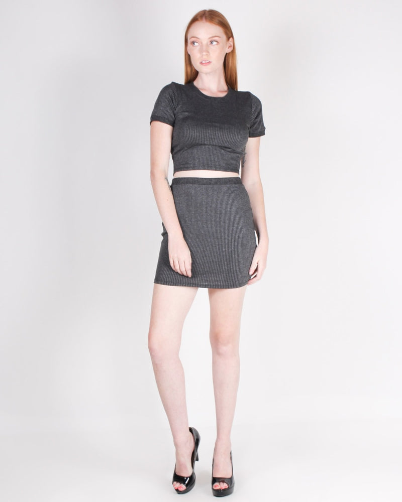 Give This World Good Energy Miniskirt (Charcoal) Charcoal / S Bottoms