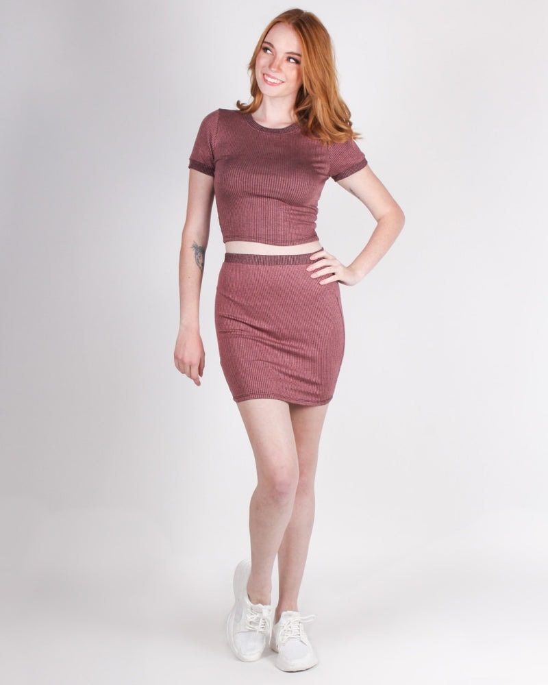Give This World Good Energy Miniskirt (Mauve) Mauve / S Bottoms