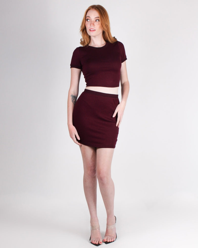 Give This World Good Energy Miniskirt (Merlot) Merlot / S Bottoms