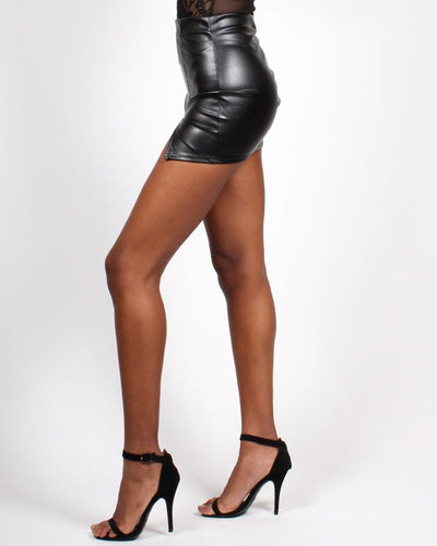 Glamming Perfect Pleather Mini-Skirt Bottoms