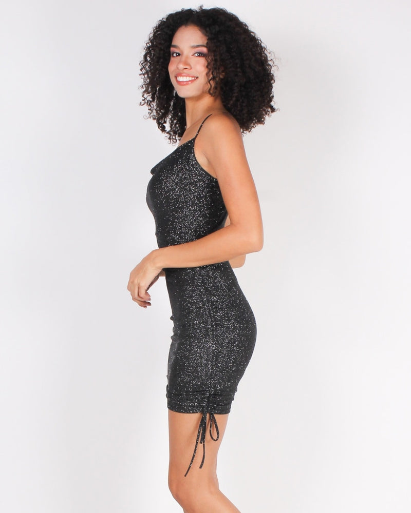 Glitter Is My Signature Color Bodycon Mini Dress (Black) Black / S Dresses