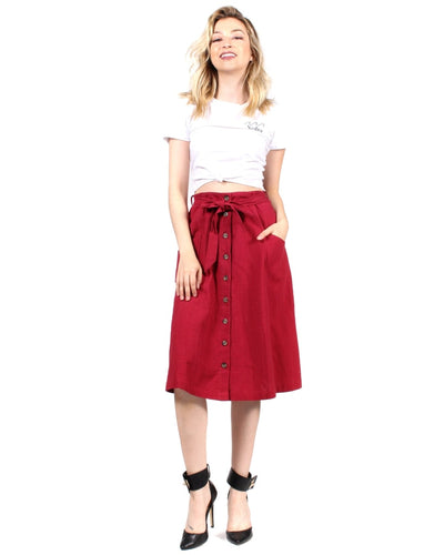 Good Day Sunshine Skirt S / Burgundy Bottoms