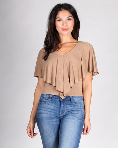 Gypsy Soul Flounce Top S / Tan