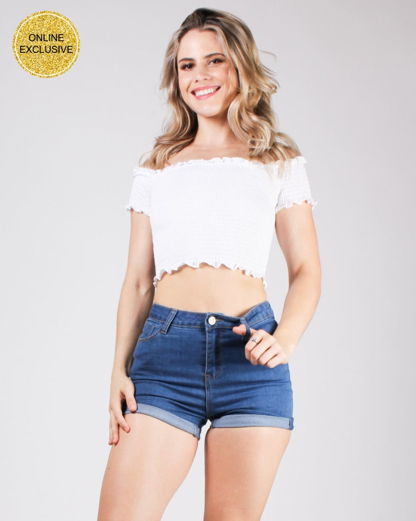 Happy-Go-Lucky Smocking Crop Top Off White / S Tops